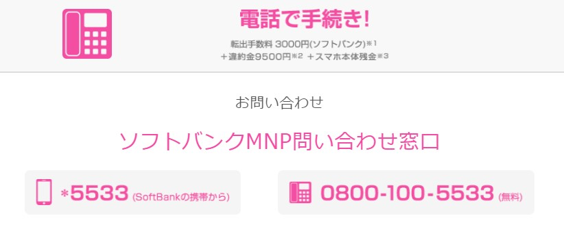 SoftbankNMP手続き電話番号(新規)
