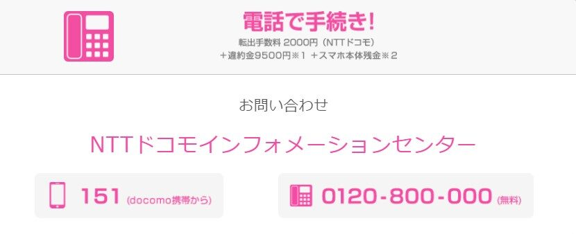docomoMNP発行電話番号(新規)